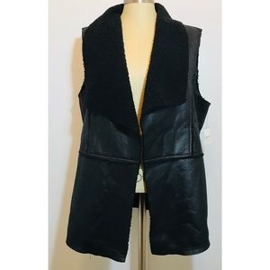 New! Liz Claiborne Faux Leather Open Vest Sz. XL